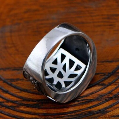 Men's Sterling Silver Sanskrit Ring