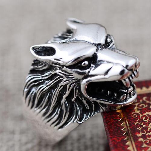 Men's Sterling Silver Wolf Head Ring