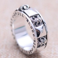 Men's Sterling Silver Skull Blood Spinner Ring
