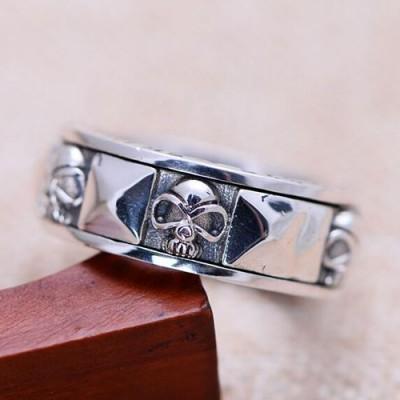 Men's Sterling Silver Skull Blood Spinner Ring