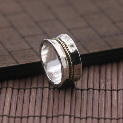 Men's Sterling Silver Rope Pattern Band Ring