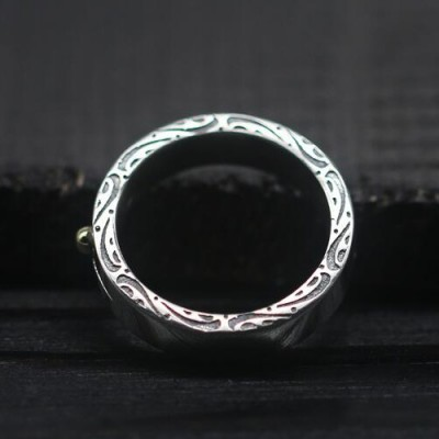Men's Sterling Silver Sun Rays Band Ring
