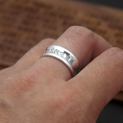 Men's Fine Silver Six Word Proverbs Band Ring