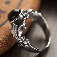 Men's Sterling Silver Black Agate Ring
