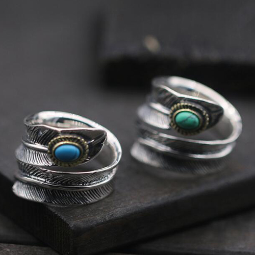 Unique Men's Sterling Silver Turquoise Feather Wrap Ring - Jewelry1000.com KK89