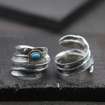 Men's Sterling Silver Turquoise Feather Wrap Ring