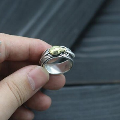 Men's Sterling Silver Feather Band Ring