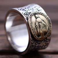 Men's Sterling Silver Virgin Mary Wide Band Ring