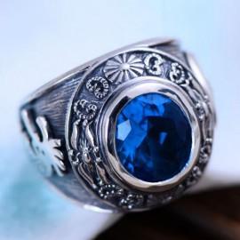 Men's Sterling Silver Blue Crystal Ring