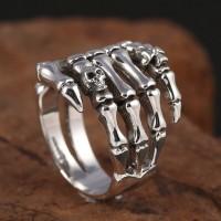 Men's Sterling Silver Skull Hand Ring