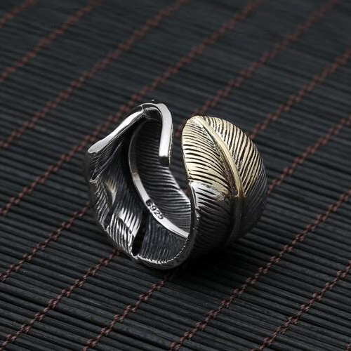 Men's Sterling Silver Two-Tone Feather Wrap Ring