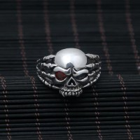 Men's Sterling Silver Red Eye Skull Ring