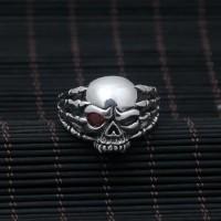 Men's Sterling Silver Red Eye Skull Ring
