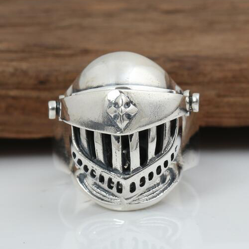 Men's Sterling Silver Armor Skull Ring