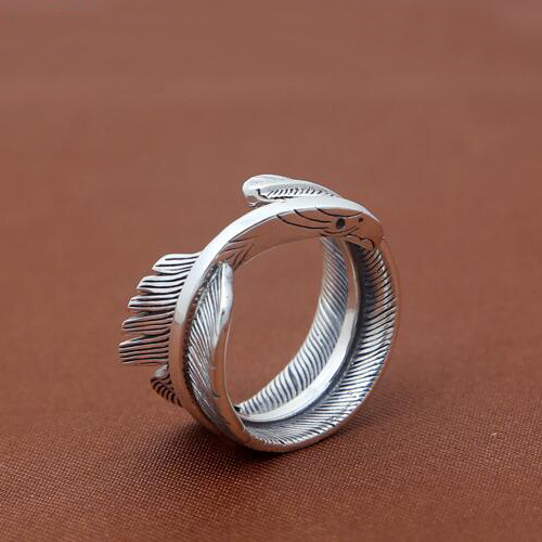 Men's Sterling Silver Eagle Beak Feather Wrap Ring