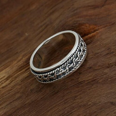 Men's Sterling Silver Spiral Pattern Spinner Ring