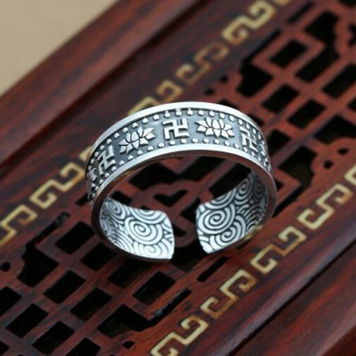 Men's Fine Silver Lotus Wrap Ring