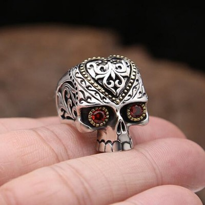 Men's Sterling Silver CZ Eyes Skull Ring