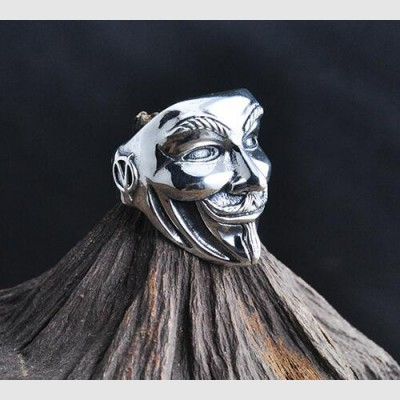 Men's Sterling Silver V for Vendetta Mask Wrap Ring