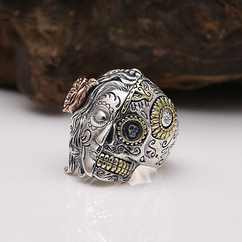 Men's Sterling Silver Two-Faced Skull Ring