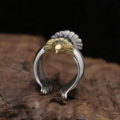 Men's Sterling Silver Eagle Wrap Ring
