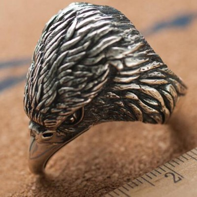 Men's Sterling Silver Eagle Head Ring