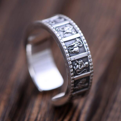 Men's Fine Silver Zodiac Wrap Ring
