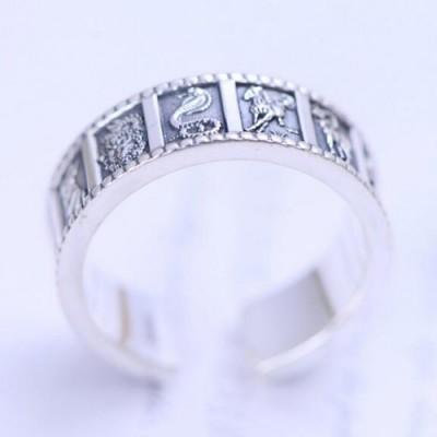 Men's Fine Silver Zodiac Wrap Ring