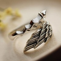 Men's Sterling Silver Angel's Wing Wrap Ring