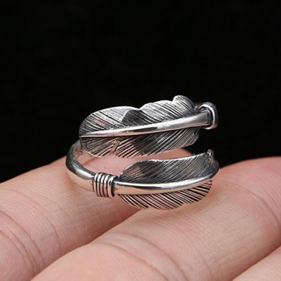 Men's Sterling Silver Feather Wrap Ring