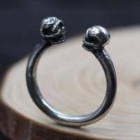 Men's Sterling Silver Skulls Wrap Ring