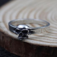 Men's Sterling Silver Slim Skull Ring