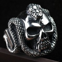 Men's Sterling Silver Cobra Skull Ring