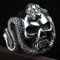 Men's Sterling Silver Cobra Skull Ring