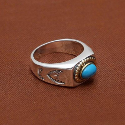 Men's Sterling Silver Turquoise Ring
