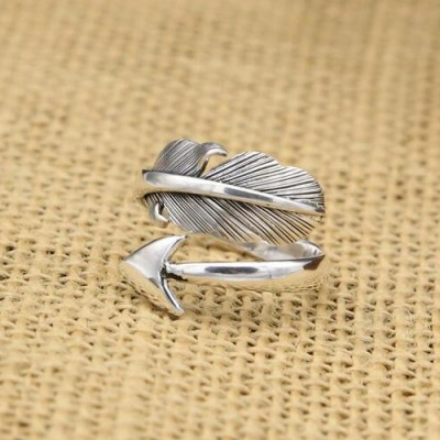 Men's Sterling Silver Feather Arrow Wrap Ring