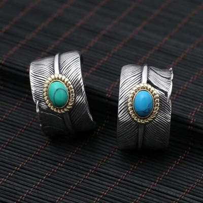Men's Sterling Silver Turquoise Feather Wide Ring