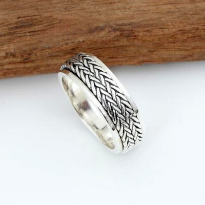 Men's Sterling Silver Tire Pattern Spinner Ring