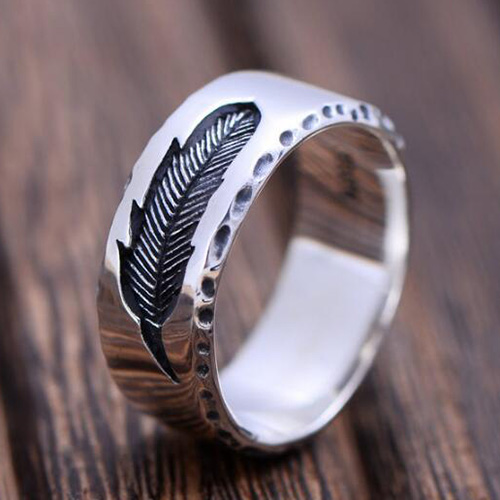 mens sterling silver engraved feather band ring