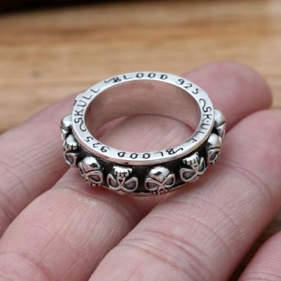 Men's Sterling Silver Blood Skull Spinner Ring