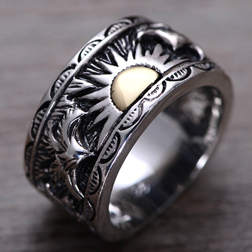 Men's Sterling Silver Sun Band Ring - Jewelry1000 com