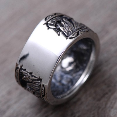 Men's Sterling Silver Sun Band Ring