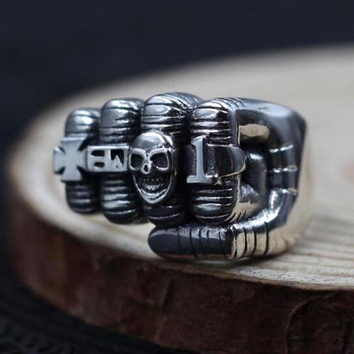 Men's Sterling Silver Skull Fist Ring