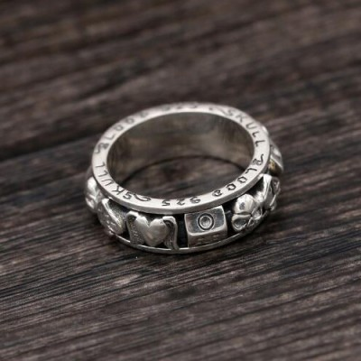 Men's Sterling Silver Poker Suits Skull Ring
