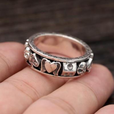 Men's Sterling Silver Poker Suits Skull Ring