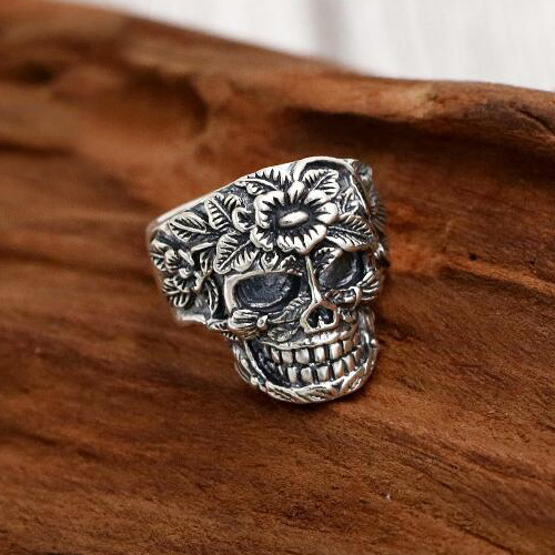 Men's Sterling Silver Flower Skull Ring