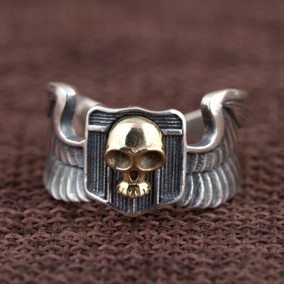 Men's Sterling Silver Eagle Wings Skull Ring
