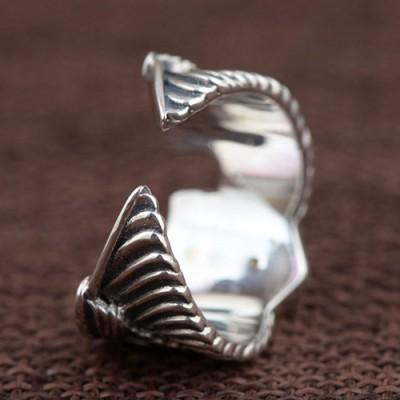 Men's Sterling Silver Eagle Wings Skull Ring