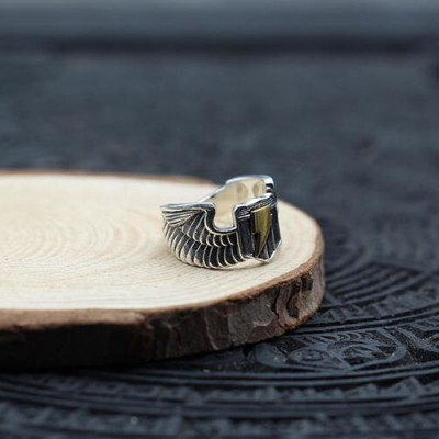 Men's Sterling Silver Eagle Wings Lightning Ring