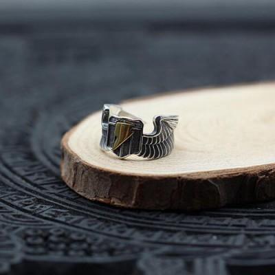Men's Sterling Silver Eagle Wings Lightning Ring